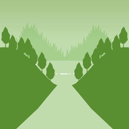 mountains forest lake wanderlust landscape vector illustration