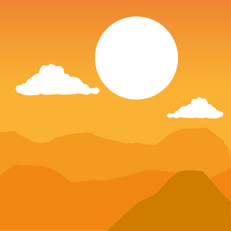mountains sky clouds wanderlust landscape vector illustration