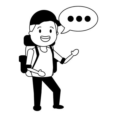 man tourist travel bag cartoon vector illustration