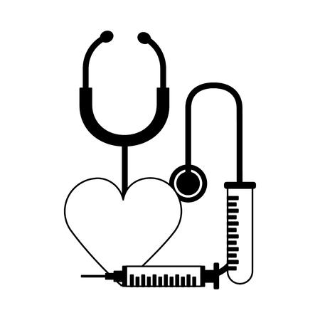 heart syringe stethoscope world health day vector illustration Foto de archivo - 124740964