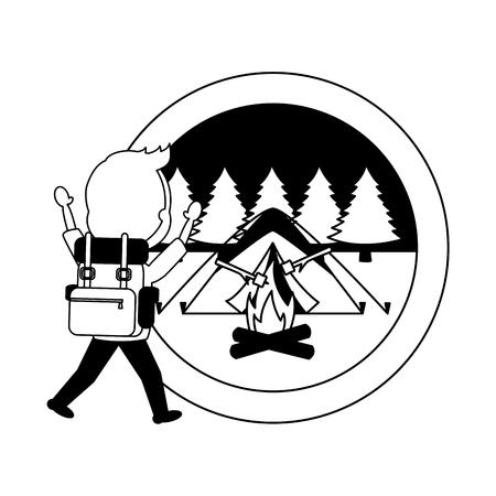 man travel backpack tent bonfire camping landscape vector illustration Illustration