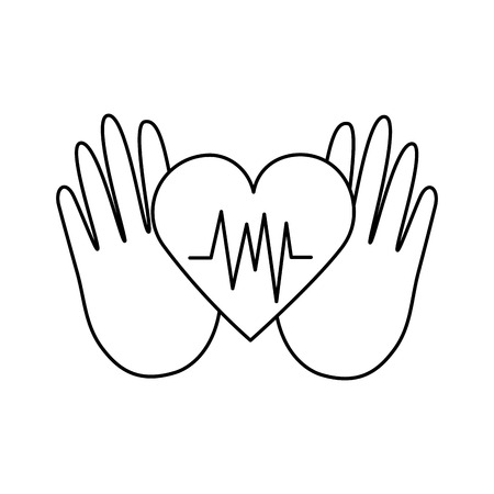 hands heartbeat world health day vector illustration