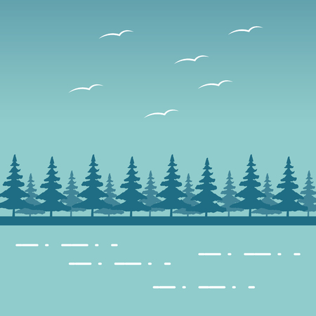 mountains forest birds lake wanderlust landscape vector illustration Stock Vector - 124740973
