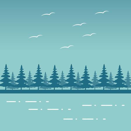 mountains forest birds lake wanderlust landscape vector illustration