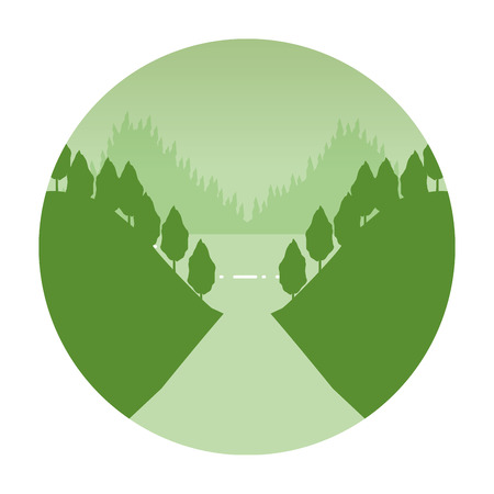 mountains forest birds wanderlust landscape vector illustration 矢量图像