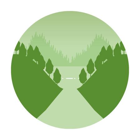 mountains forest birds wanderlust landscape vector illustration Illustration