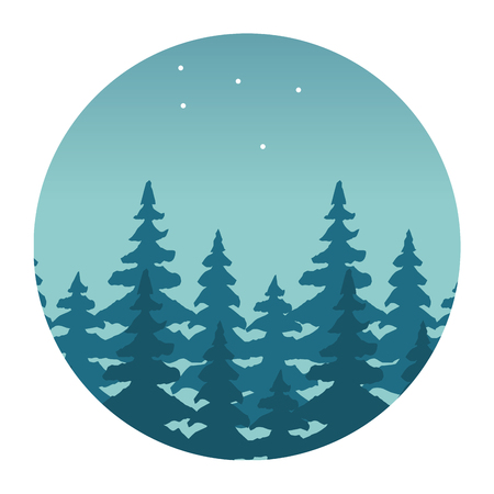 mountains forest stars wanderlust landscape vector illustration