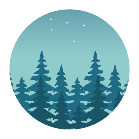 mountains forest stars wanderlust landscape vector illustration