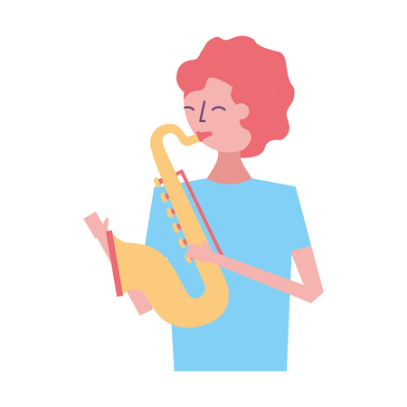 young man playing saxophone music vector illustration