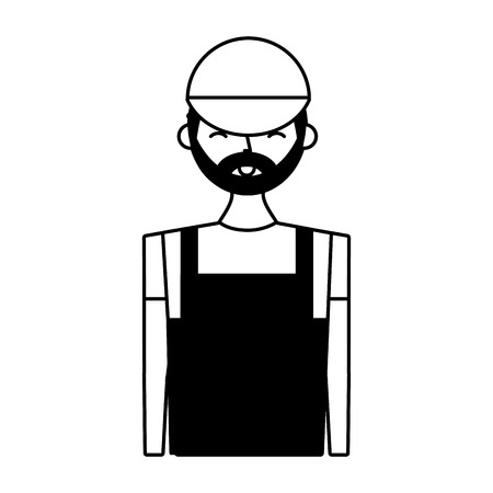 young barista man in apron vector illustration