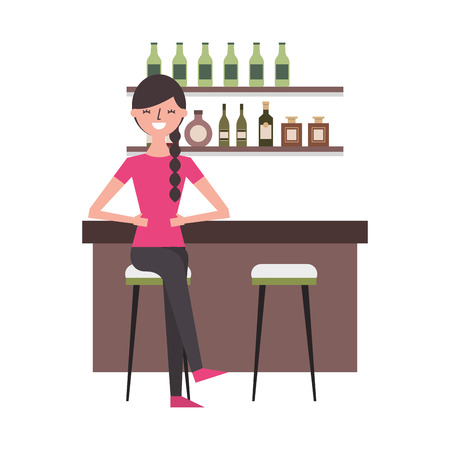 woman sitting in chair at the bar vector illustration