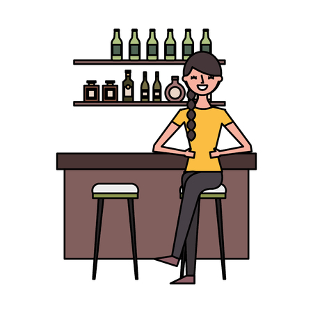 woman sitting in chair at the bar vector illustration Banque d'images - 124741022