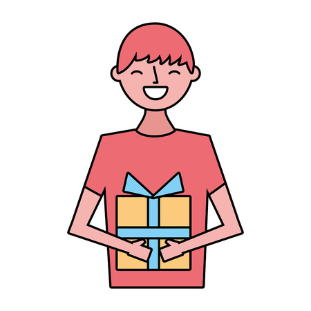 smiling man with gift box vector illustration Foto de archivo - 124741030