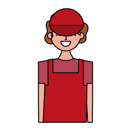 young barista woman in apron vector illustration