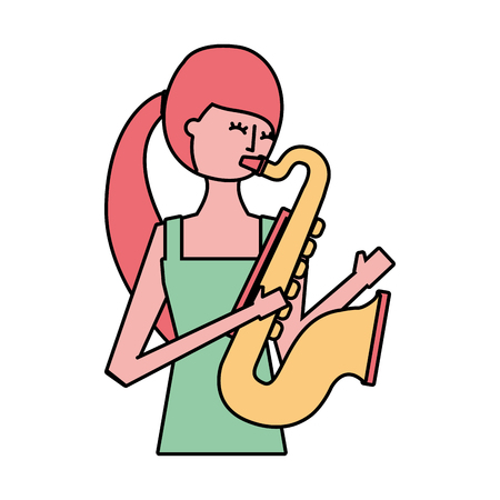 young woman playing saxophone music vector illustration