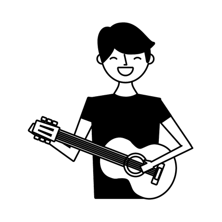 young man playing guitar music vector illustration