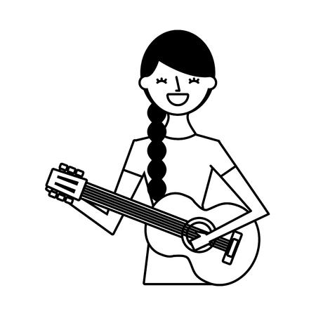 musician woman playing guitar music vector illustration Vetores