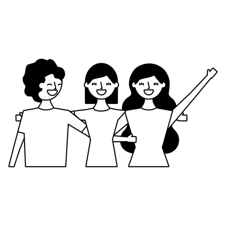 three women hugging friends white background vector illustration