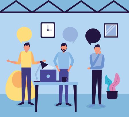 Ilustración de vector de trabajo de negocios de espacio de trabajo de hombres de equipo