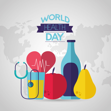 fruits juice stethoscope world health day vector illustration Foto de archivo - 124741058