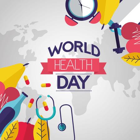 food sport wellness world health day vector illustration