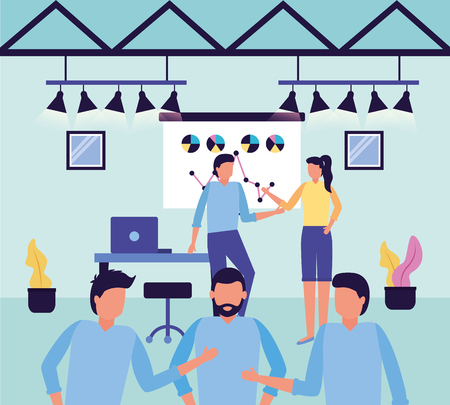 people workspace desk chair board business work vector illustration
