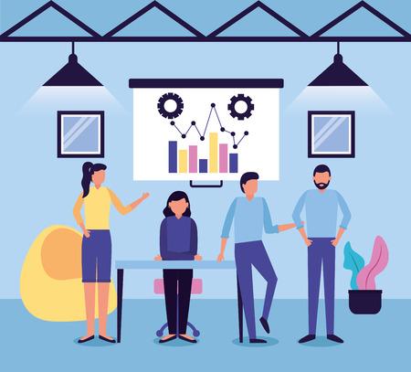 people team workspace business work vector illustration
