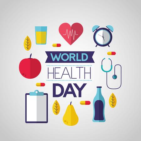 nutrition sport medical world health day vector illustration  イラスト・ベクター素材