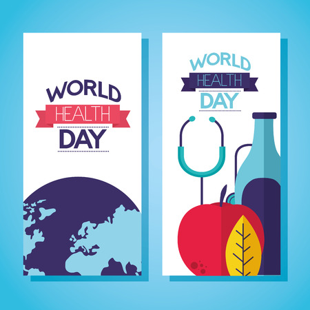 banner nutrition beverage stethoscope world health day vector illustration