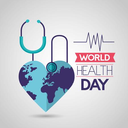 world heart shaped health day vector illustration
