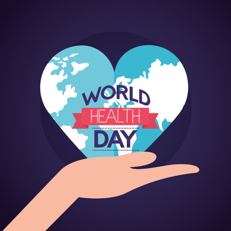 hand with heart made world health day vector illustration