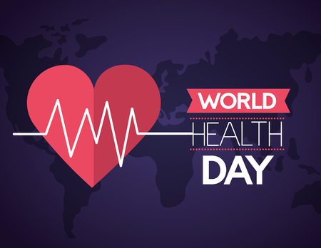 heartbeat care world health day vector illustration