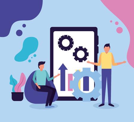 Ilustración de vector de trabajo de negocios de engranajes de gráfico móvil de dos hombres