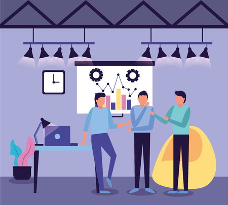 team men board presentation laptop business work vector illustration Illustration