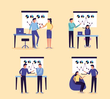 set people board presentation report business work vector illustration Illustration