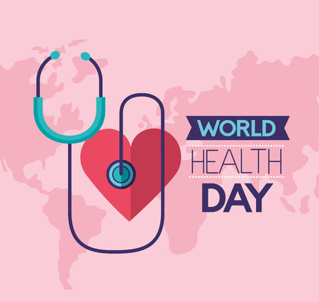 heart stethoscope world health day vector illustration Foto de archivo - 124741085