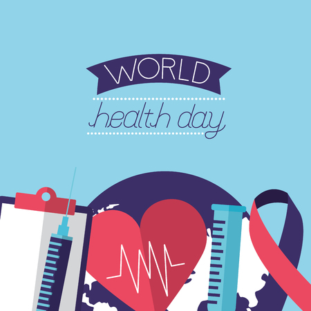 heart report syringe ribbon heartbeat world health day vector illustration Foto de archivo - 124741088