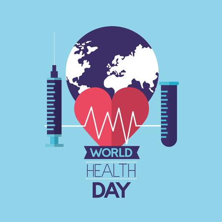 heartbeat syringe and pippete world health day vector illustration Foto de archivo - 124741091