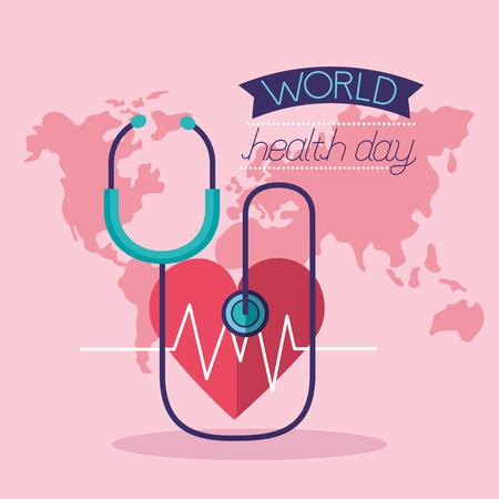 heartbeat stethoscope world health day vector illustration Foto de archivo - 124741092