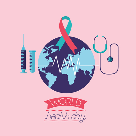 stethoscope syringe ribbon world health day vector illustration Ilustração