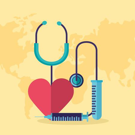 heart syringe stethoscope world health day vector illustration Foto de archivo - 124741095