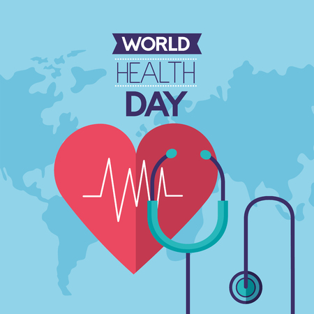 heartbeat stethoscope world health day vector illustration