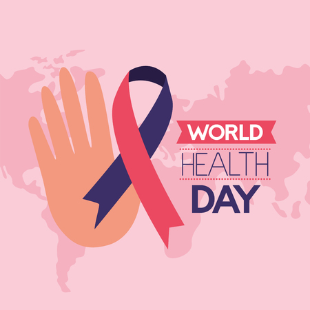 hand ribbon campaign world health day vector illustration