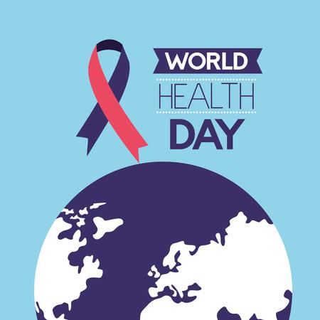 emblem ribbon world health day vector illustration