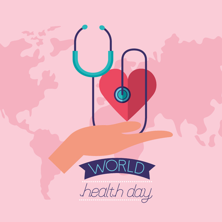 hand holding heart stethoscope world health day vector illustration Foto de archivo - 124741101