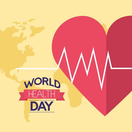 yellow background heartbeat world health day vector illustration Foto de archivo - 124741102