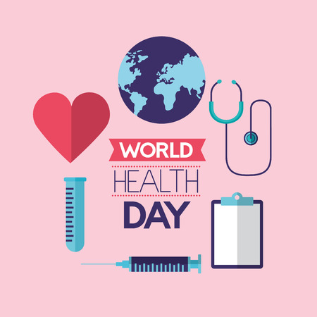 heart syringe clipboard pippete world health day vector illustration