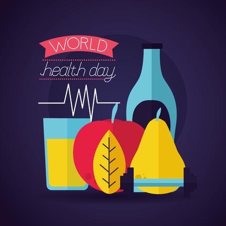 fruit food world health day vector illustration Foto de archivo - 124741104