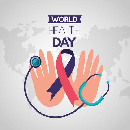 hands stethoscope ribbon world health day vector illustration