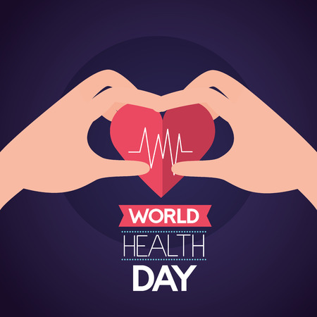 hands holding heatbeat world health day vector illustration Illustration